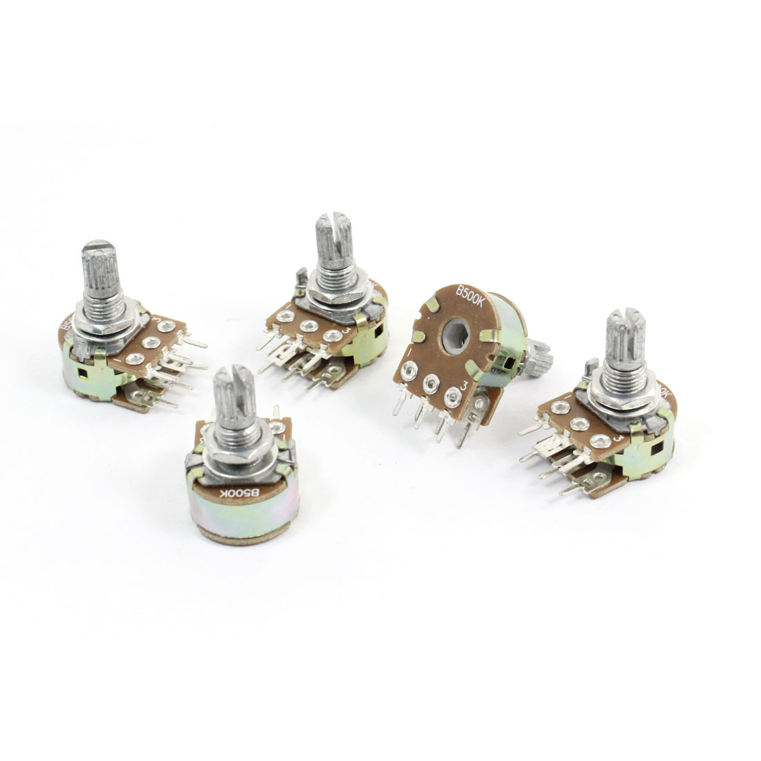 5 Pcs 500K Ohm Knurled Shaft Adjust Double Linear Potentiometers AC 250V