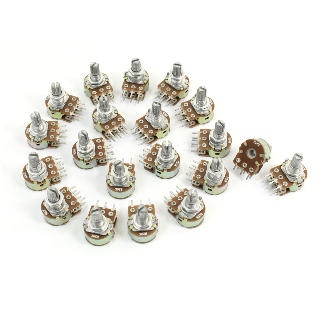 20 Pcs 20K Ohm Knurled Shaft Adjust Top Dual Linear Potentiometers AC 250V