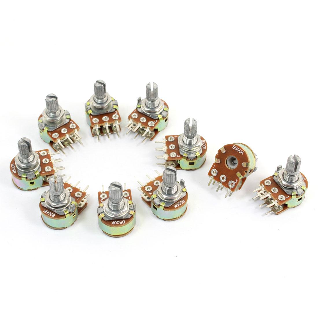 10 Pcs 500K Ohm Knurled Shaft Adjust Top Dual Linear Potentiometers AC 250V