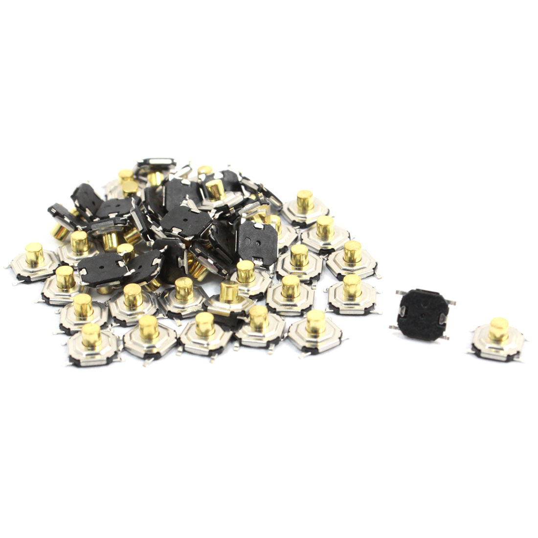 50pcs SMT Momentary Action 4 Pins Terminals Tactile Switches 5 x 5 x 3mm