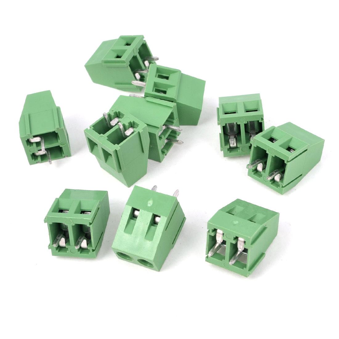 10 Pcs 300V 10A 2P Terminals 5mm Pitch PCB Screw Terminal Block Connector Green