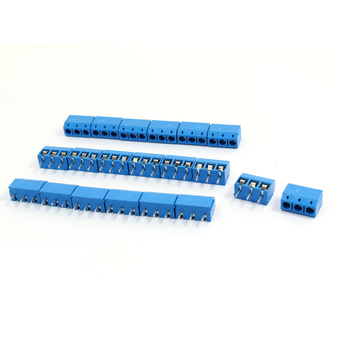 20 Pcs 301-3P 5mm Pitch 3 Pin AC 300V 10A Blue Screw Terminal Block Connector