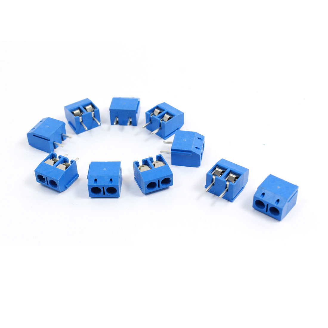 10 Pcs 301-2P 5mm Pitch 2 Terminals AC 300V 10A Blue Screw Block Connector