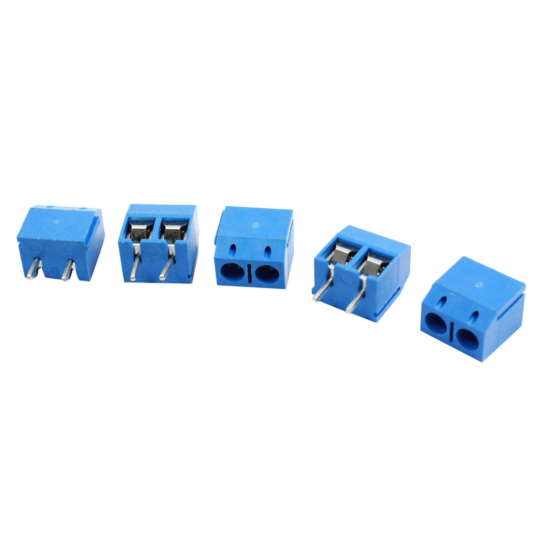 5 Pcs 301-2P 5mm Pitch Screw Terminal AC300V 10A Blue Block Connectors