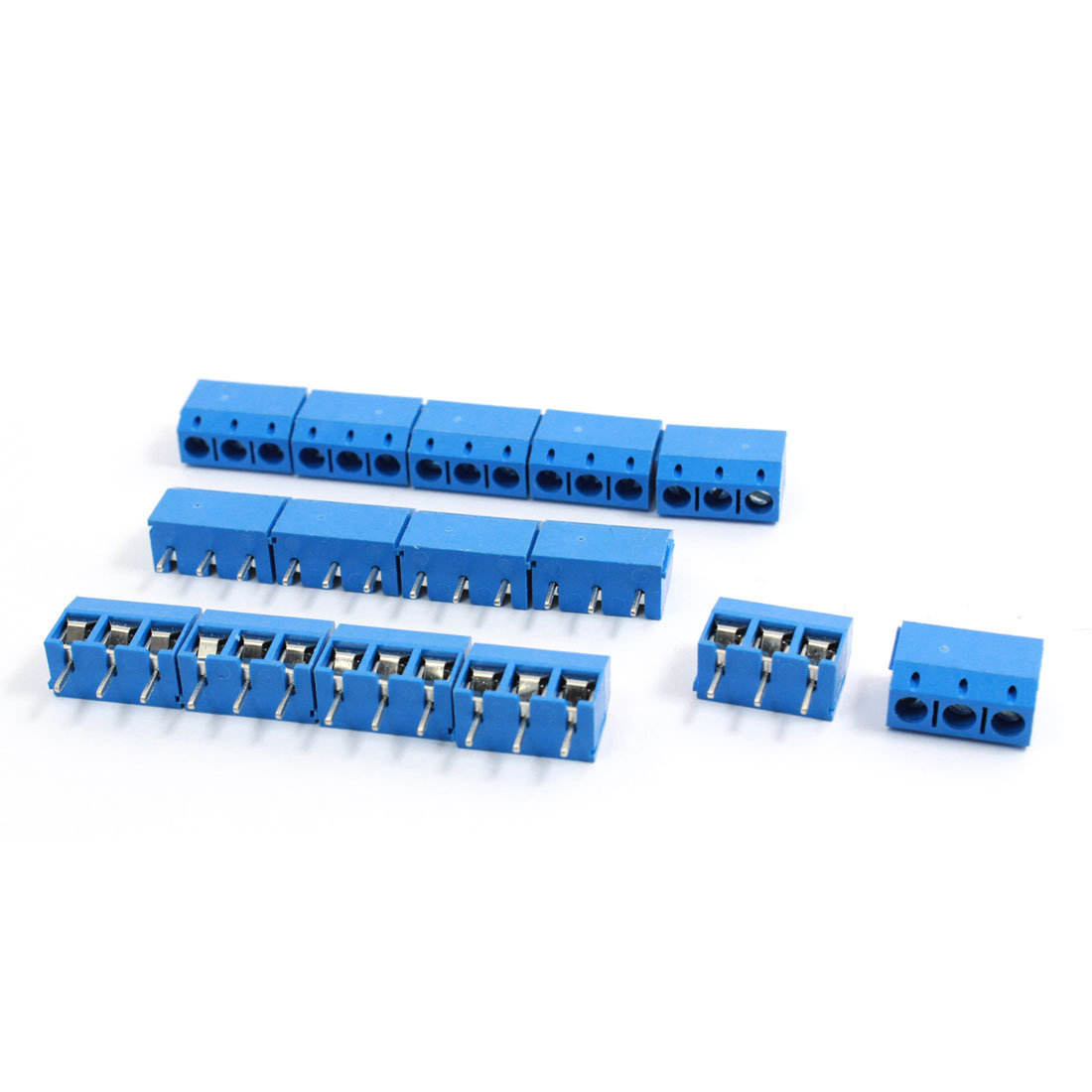 15 Pcs 301-3P 5mm Pitch 3 Pin AC 300V 10A Blue Screw Terminal Block Connector