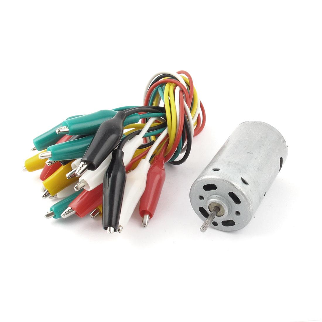 DC 6-12V Electric Mini Motor 9000RPM-15000RPM Speed + 10 Pcs Alligator Clip Wire
