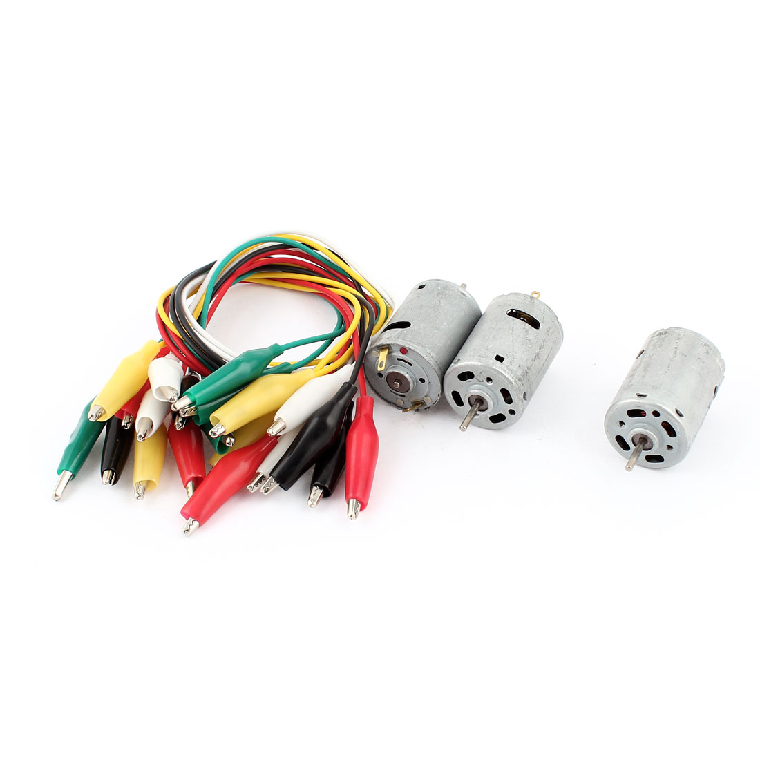 3 Pcs Metal Housing Motor 9000-15000RPM DC 6-12V + 10 Pieces Alligator Clip Wire