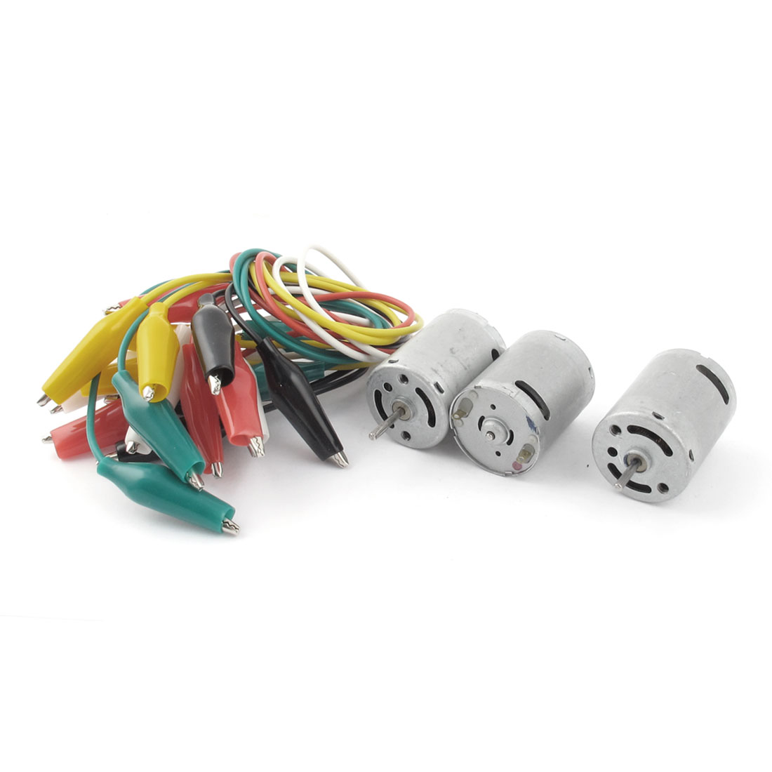 3 Pcs Silver Tone DC 3V 2 Terminals Mini Motor 12000RPM Speed w Alligator Clip Cable