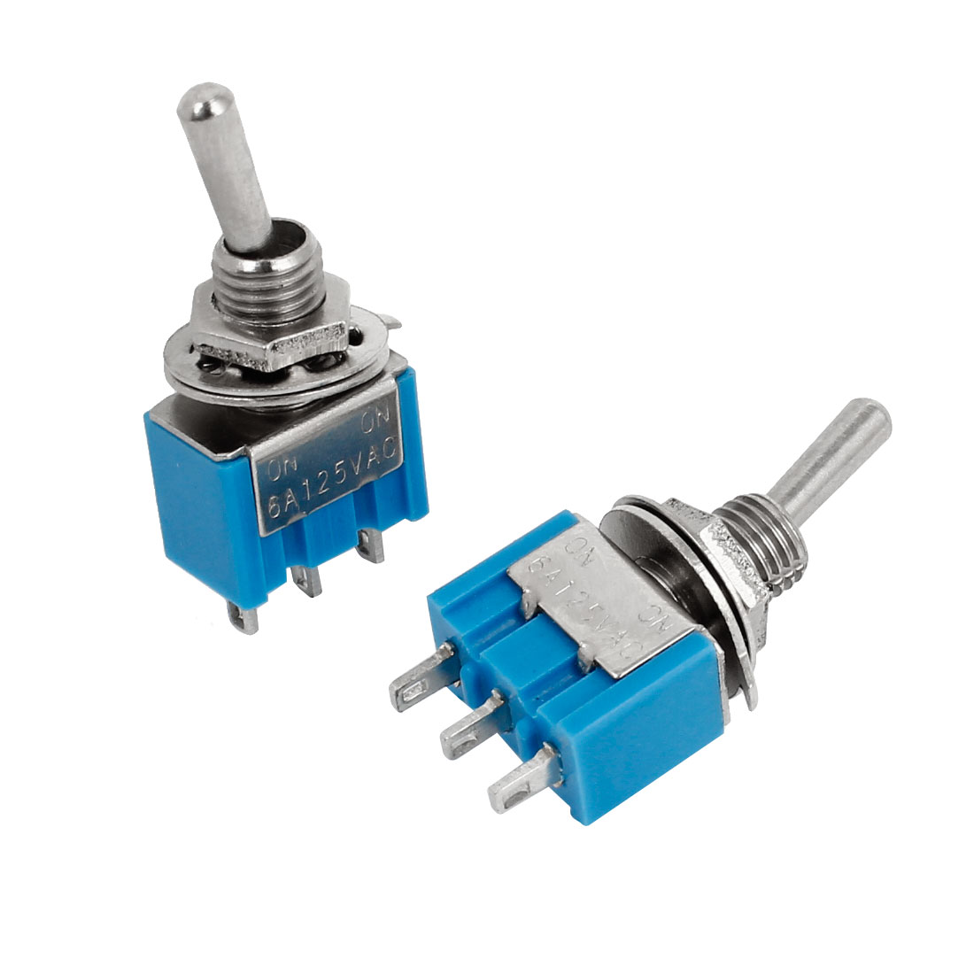 2Pcs AC 125V 6A 3 Pin ON/ON 2 Position SPDT Miniature Toggle Switch Blue