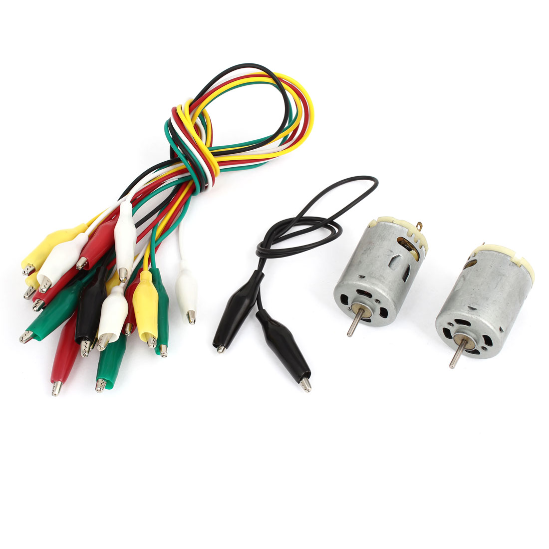 2Pcs High Torque DC 6-12V 9000-15000RPM 2 Terminals Type 380 Mini Magnetic Motor w Alligator Clip Cable