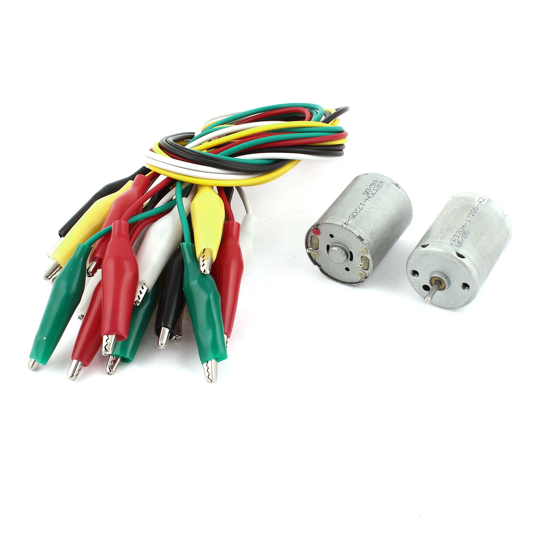 2 Pcs DC 6V 2 Terminals Electric Motor 9000RPM w 10 Pieces Alligator Clip Wires