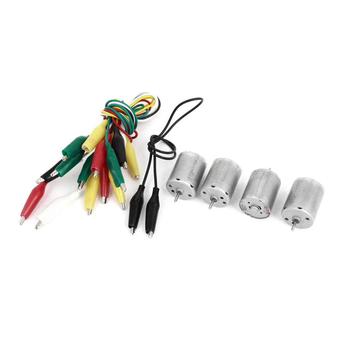 4Pcs DC 6V 9000RPM 2 Terminals Type 370 Miniature Mini Electric Motor w Alligator Clip Cable