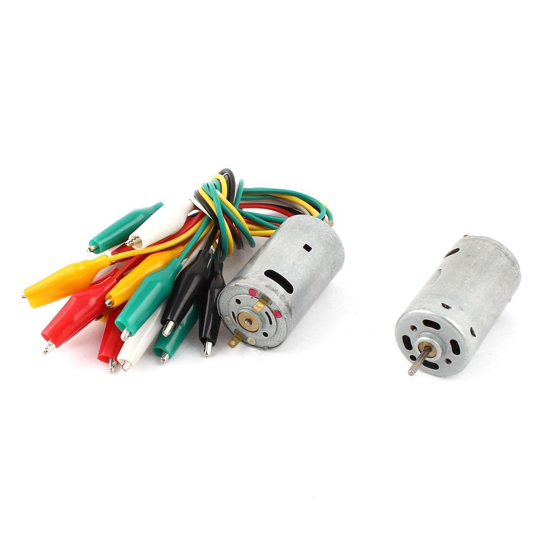 2 Pcs Electric Mini Motor 9000-15000RPM DC 6-12V + 10 Pieces Alligator Clip Wire