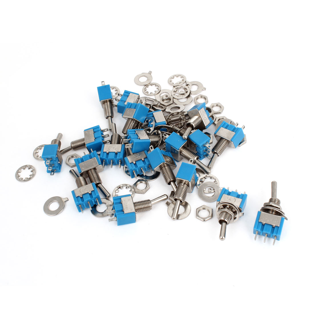 20Pcs AC 125V 6A 3 Pin ON/ON 2 Position SPDT Miniature Toggle Switch Blue