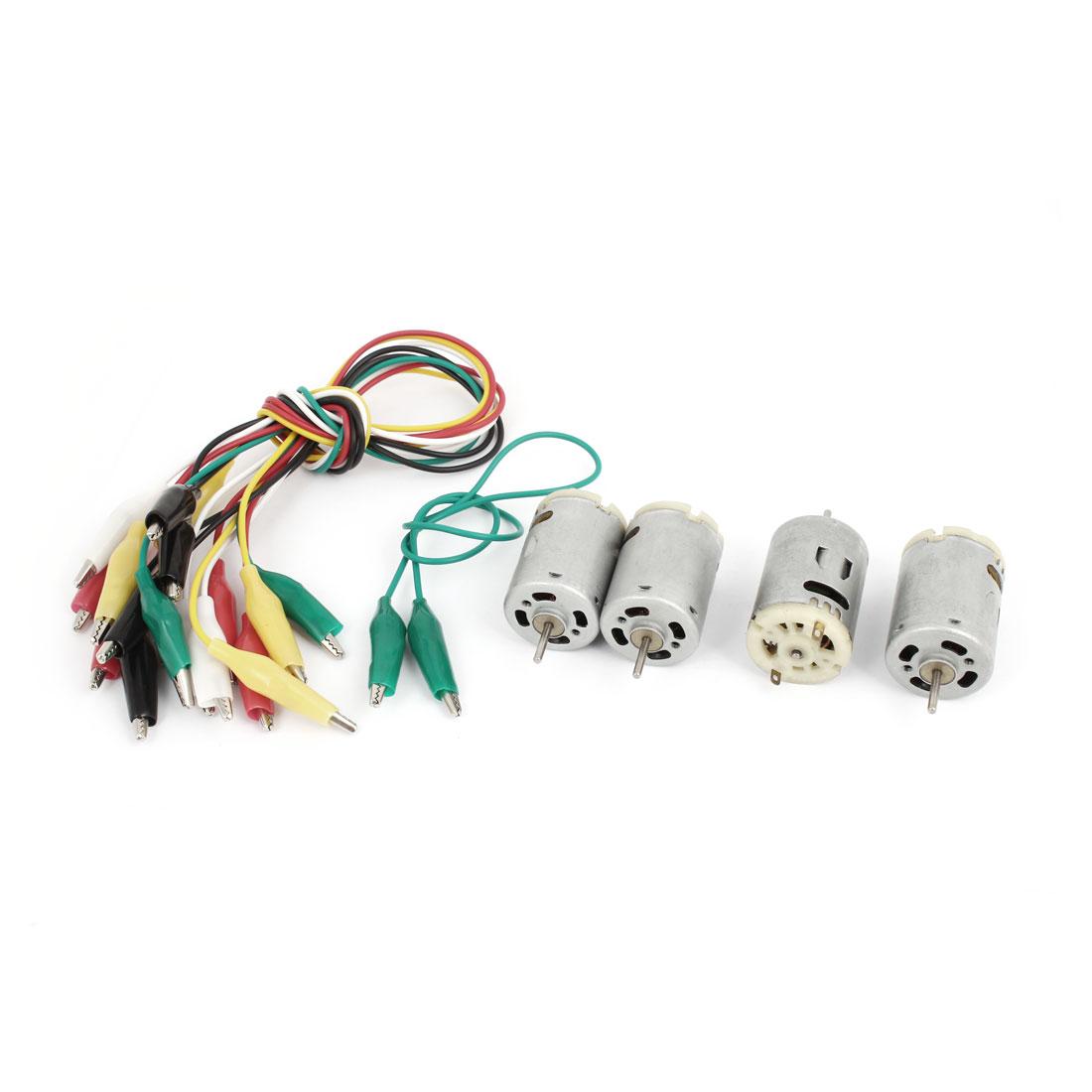 4Pcs High Torque DC 6-12V 9000-15000RPM 2 Terminals Type 380 Mini Motor w Alligator Clip Cable