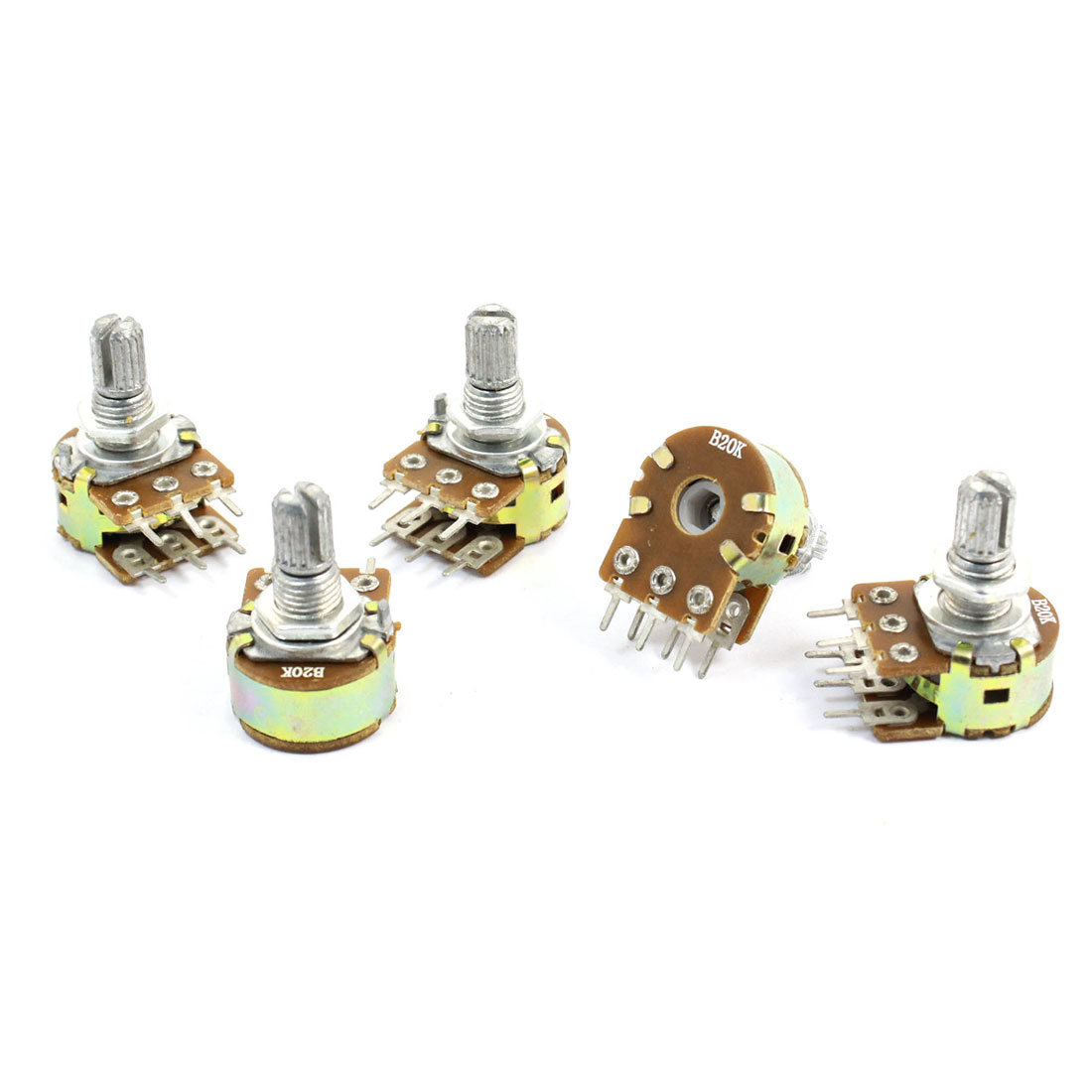 5 Pcs 20K Ohm Knurled Shaft Top Dual Linear Potentiometers AC 250V