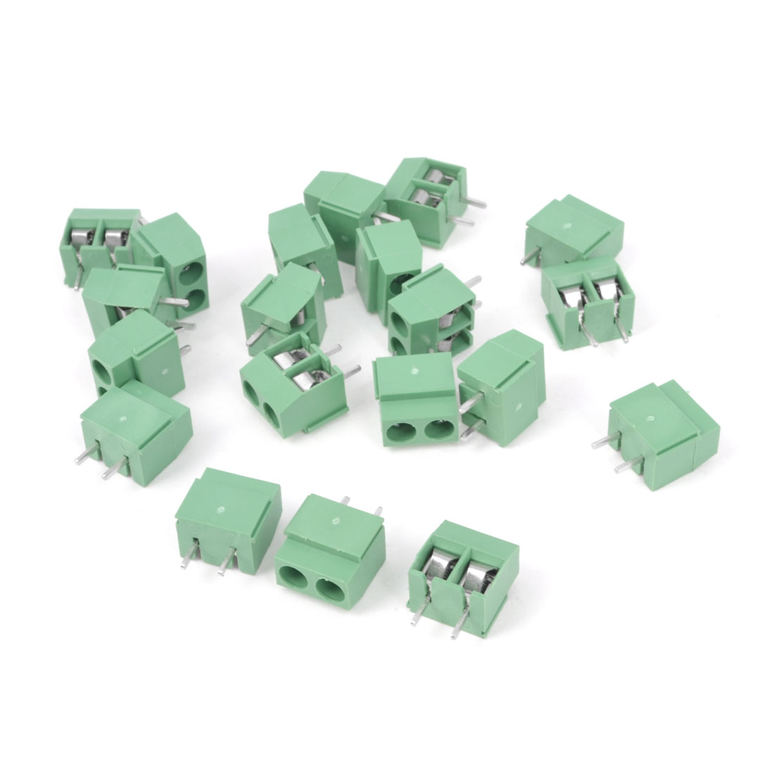 20Pcs 300V 10A 2P 5mm Pitch PCB Screw Terminal Block Connector Green