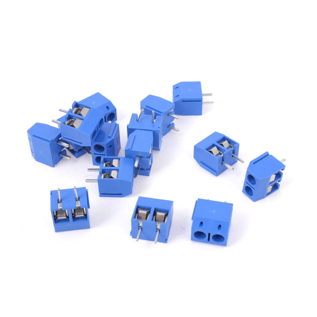 15 Pcs AC 300V 16A Male PCB Screw Terminal Block Connector 5mm Pitch Blue