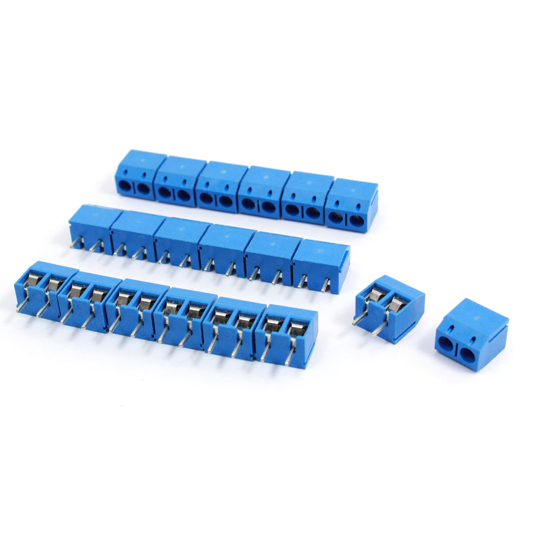 20 Pcs 301-2P 5mm Pitch AC 300V 10A Blue Screw Terminal Blocks Connector