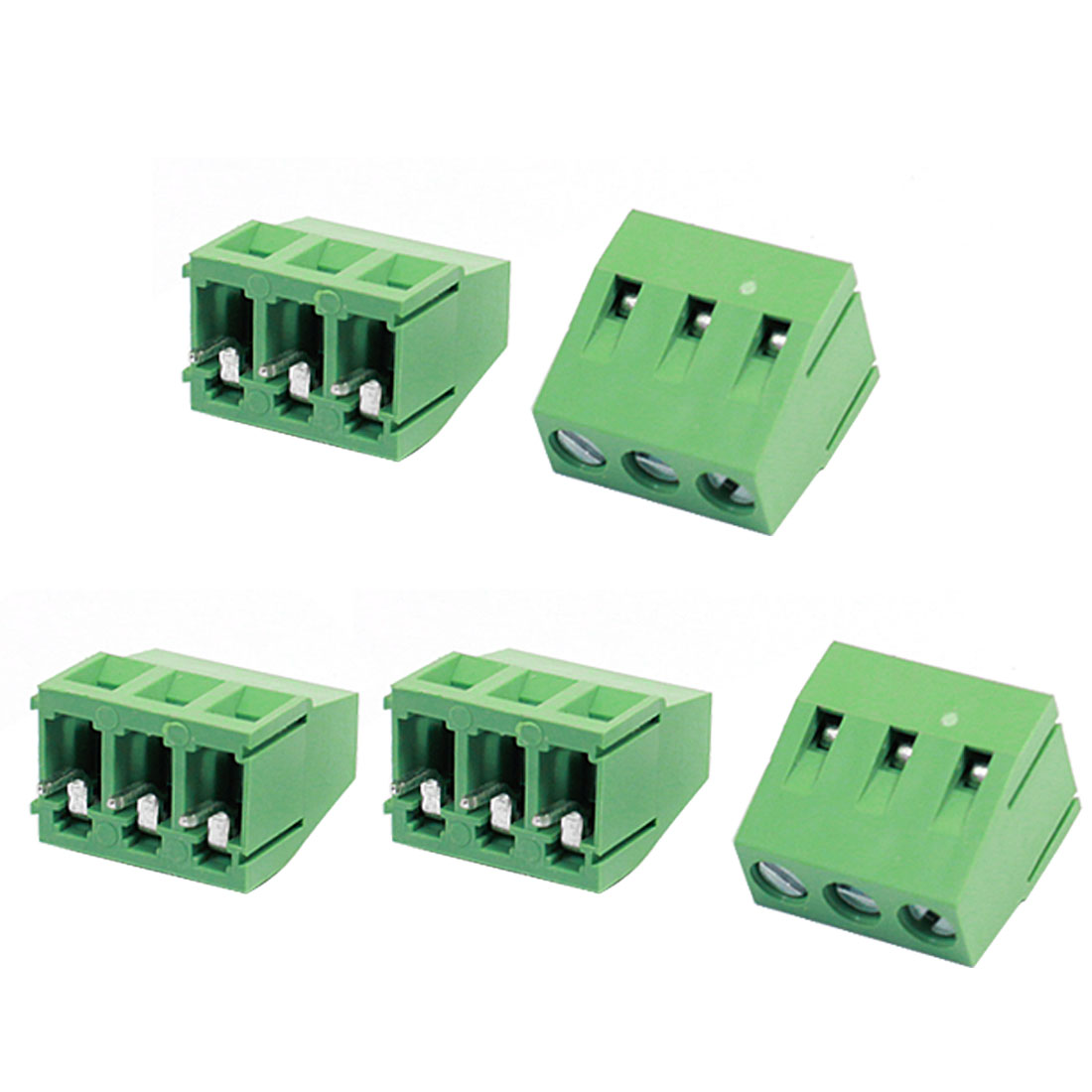 5 Pcs 128-3p 3Pin 5mm Pitch Screw Terminal Block Connector 300V 10A