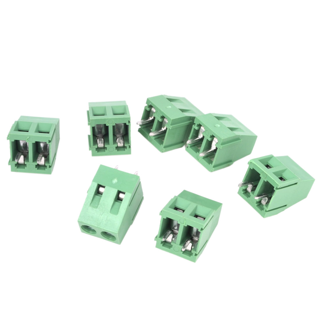 7Pcs 300V 10A 2P 5mm Pitch PCB Mount Screw Terminal Block Connector Green