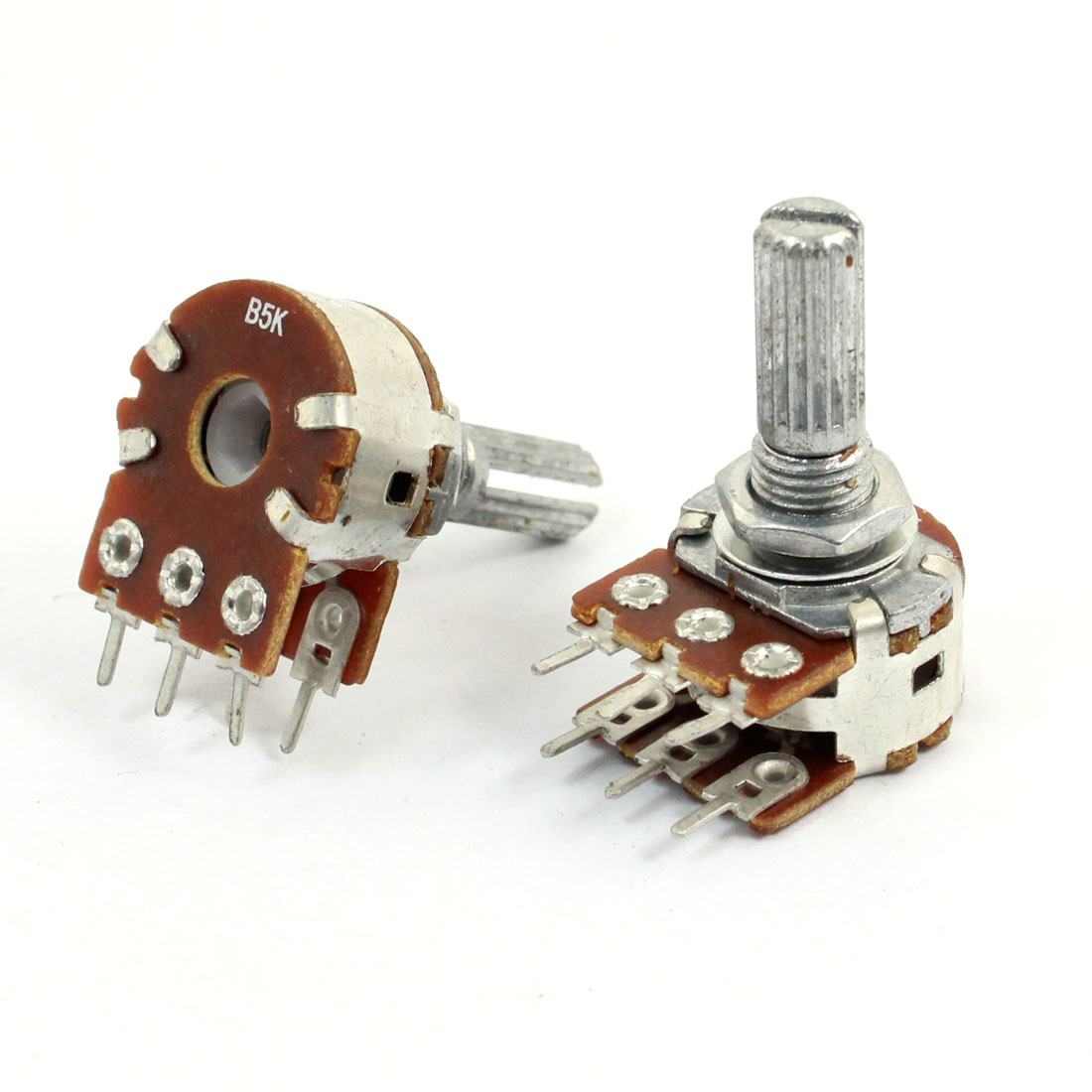 2 Pcs 5K Ohm Knurled Shaft Adjust Double Linears Potentiometers AC 250V