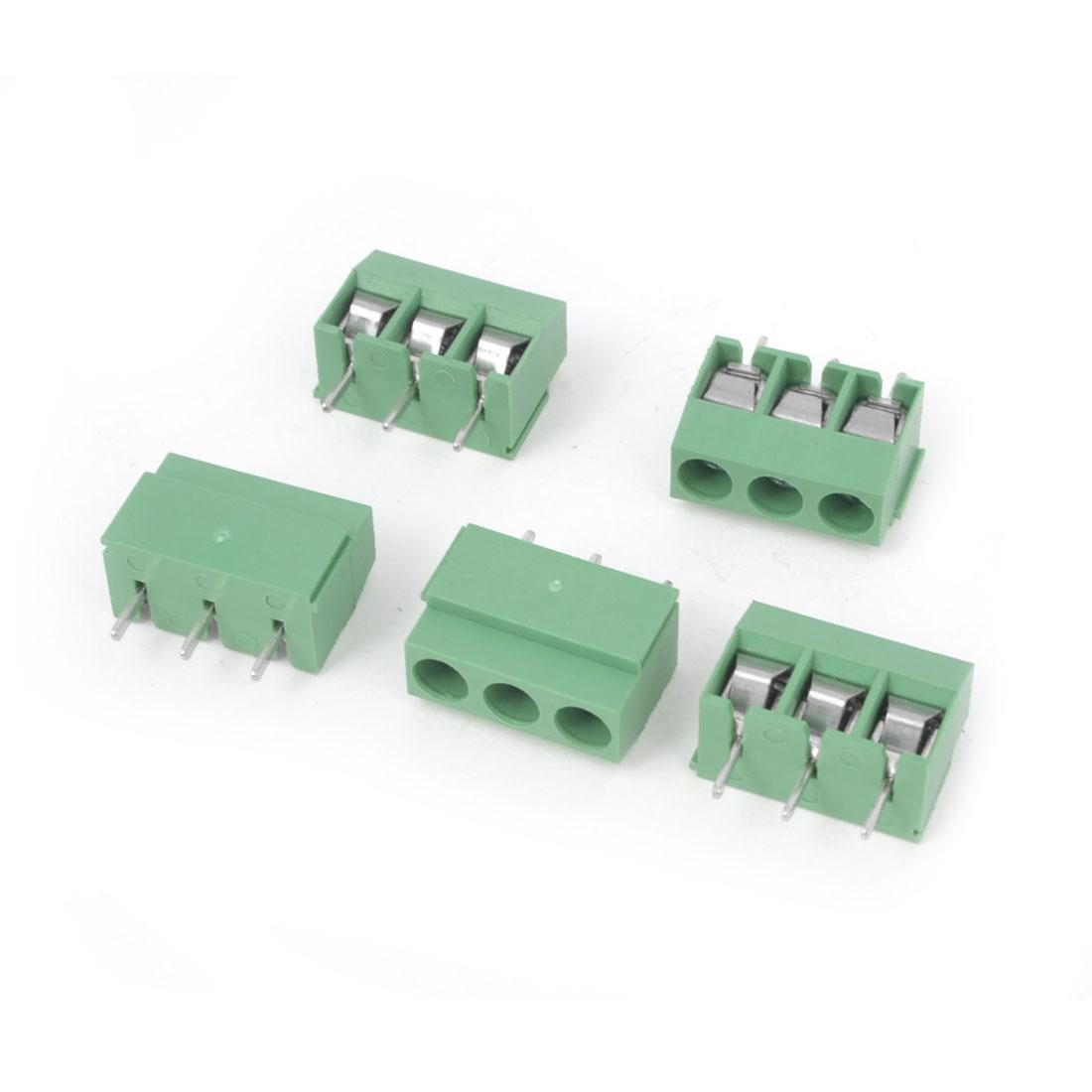 5 Pcs 300V 10A 3P Poles 5mm Pitch PCB Mount Screw Terminal Block Connector Green