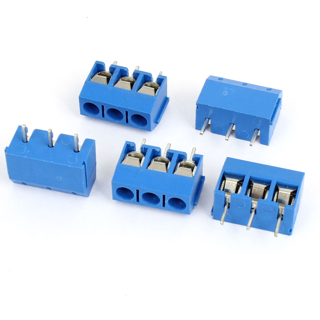 5 Pcs AC 300V 16A 5mm Pitch 3P Poles PCB Mounted Screw Terminal Block Connector Blue