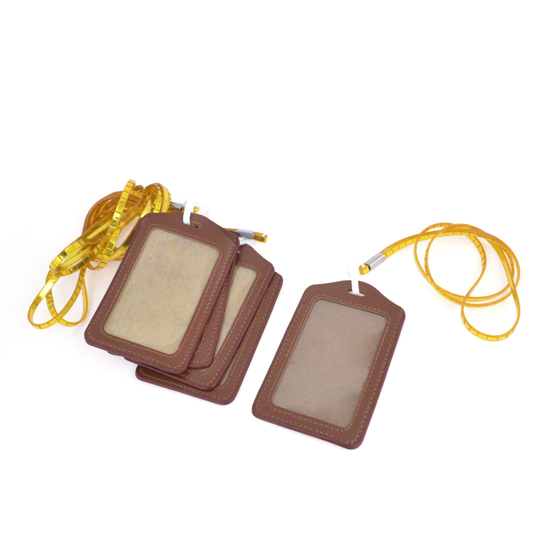 "5 Pcs Faux Leather Vertical Lanyard ID Card Holder Pouch 4.4""x2.8"" Yellow Brown"
