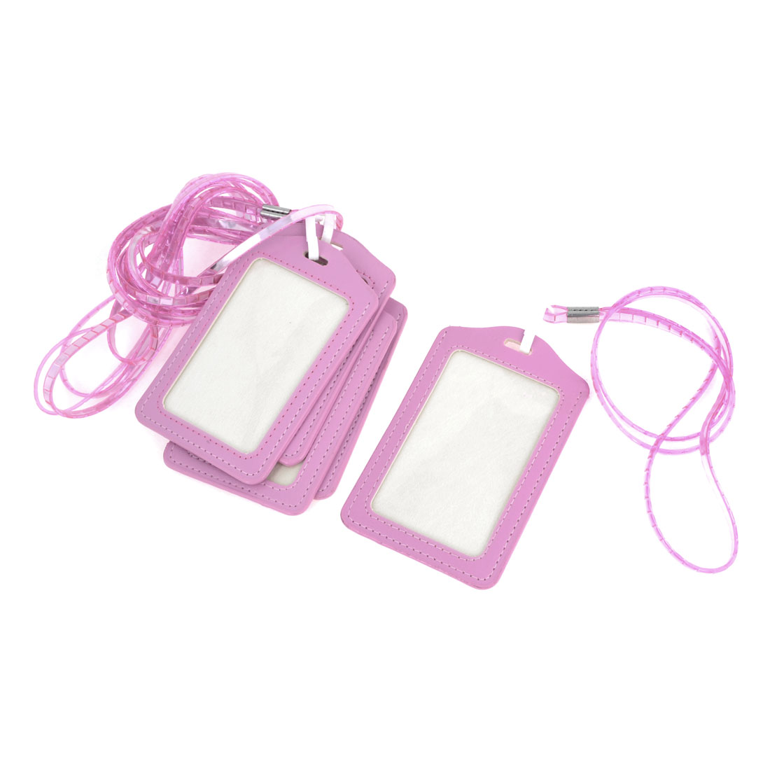 5 Pieces Pink Vertical Name ID Card Badge Holder Protector Neck Strap Lanyard