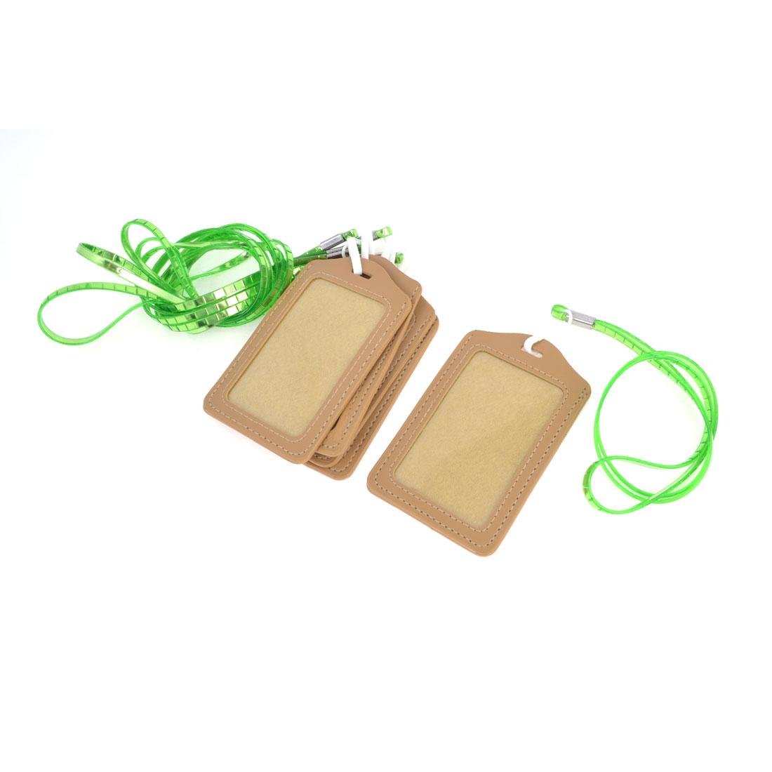 5pcs Khaki Green Vertical Name ID Card Badge Holder Protector Neck Strap Lanyard