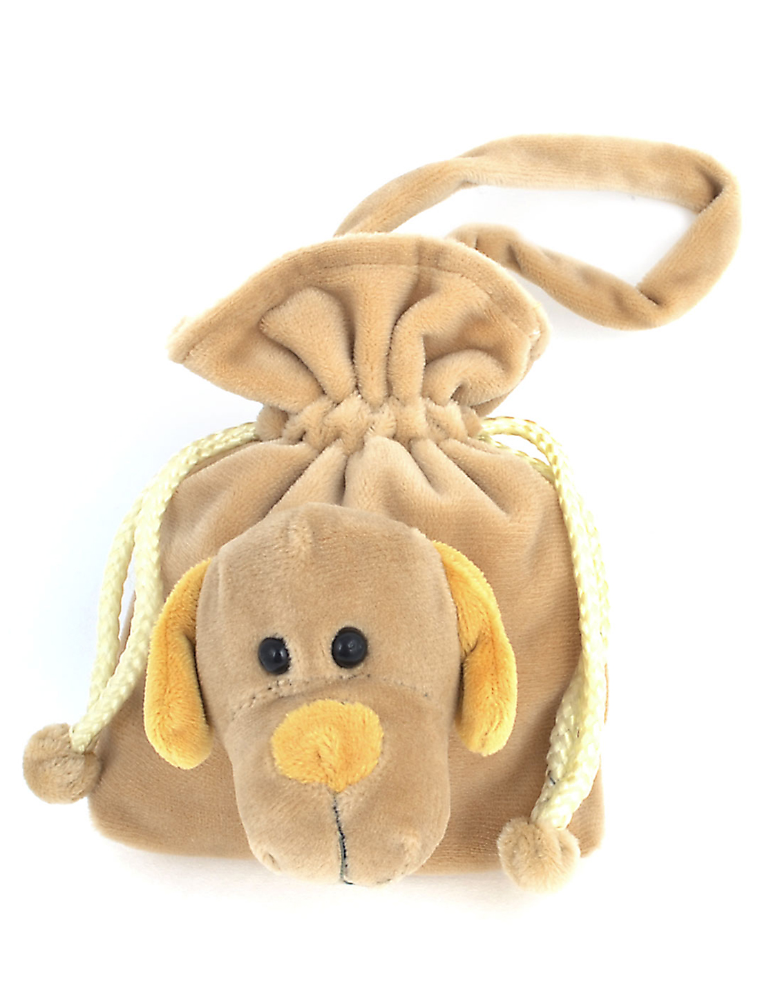 Woman Dog Decor Drawstring Closure Khaki Plush Coin Bag Purse
