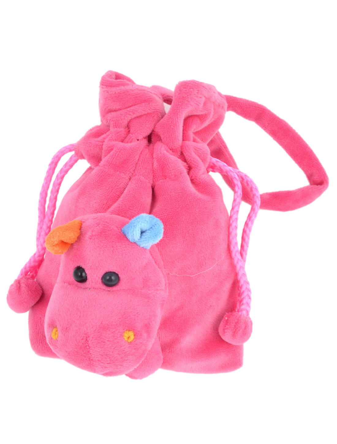 Ladies Portable Cow Detail Fuchsia Plush Drawstring Handbag Purse