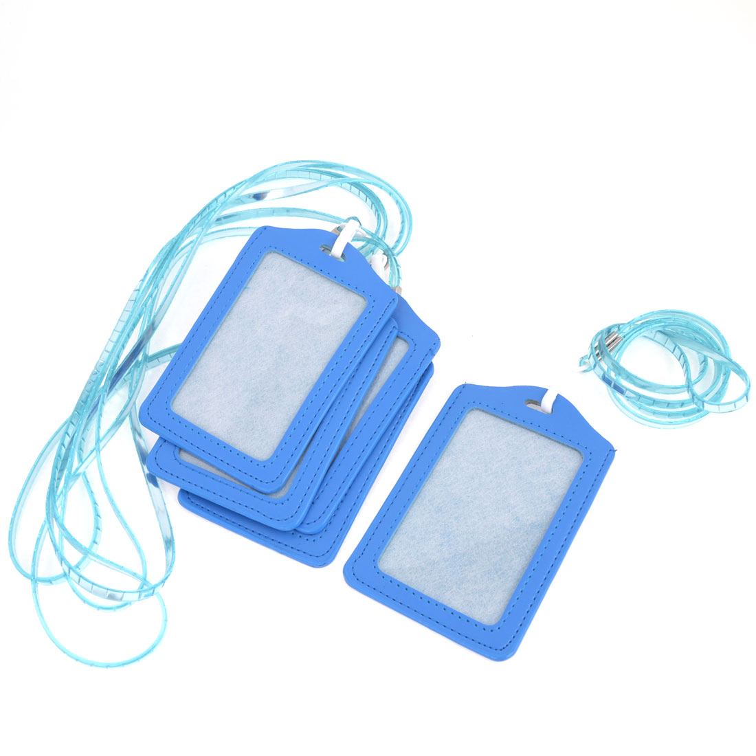5pcs Office Blue Vertical Name Card ID Badge Holder w Clear Soft Plastic Lanyard