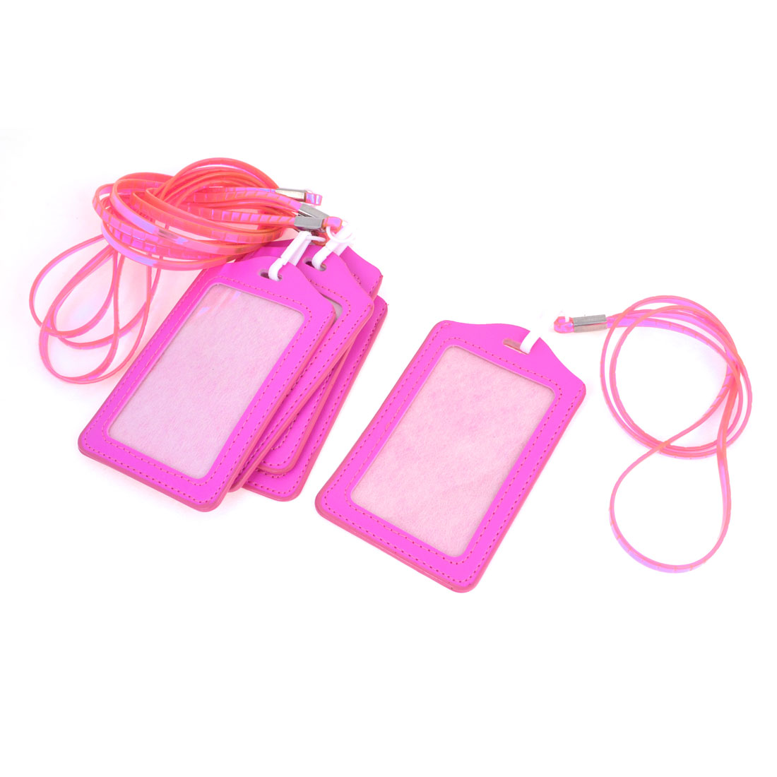 5 Pcs Office Fuchsia Vertical Name Card ID Badge Holder w Soft Plastic Lanyard