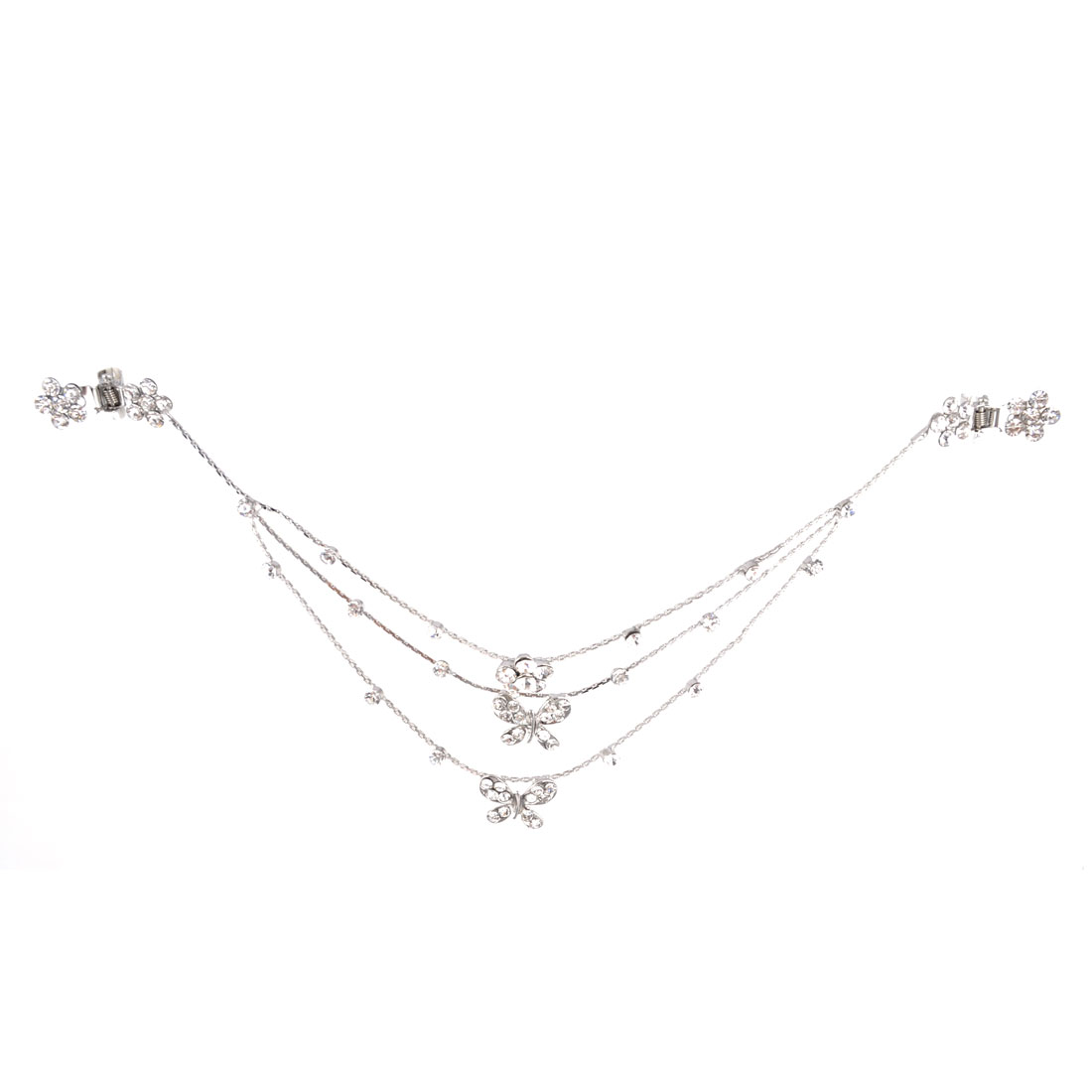 Silver Tone Butterfly Flower Detail Claw Clip Bridal Hair Chain