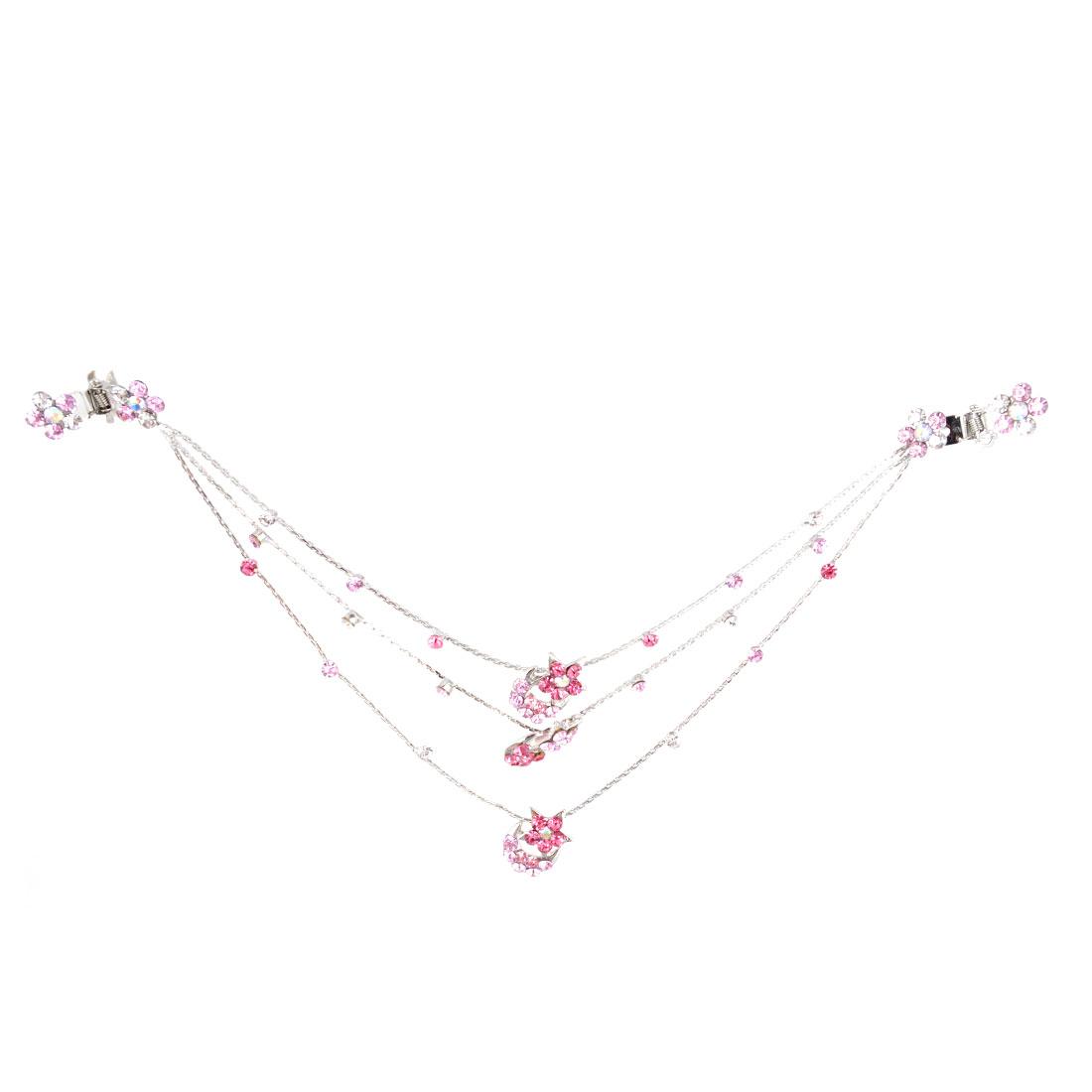 Lady Star Moon Detail Claw Clip Bridal Hair Chain Silver Tone Pink