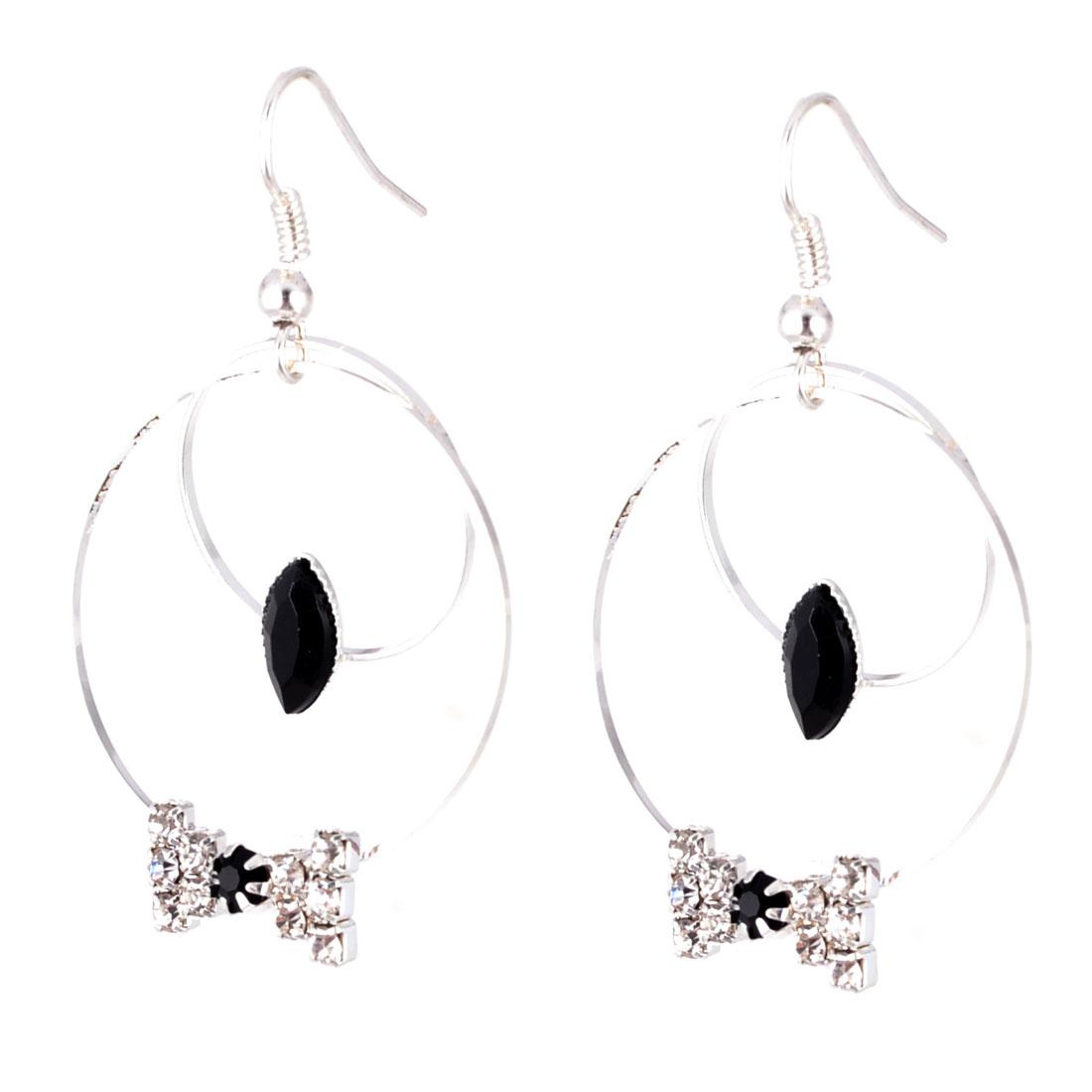 Pair Rhinestones Bowknot Design Fish Hook Circle Pendant Earrings Ornament for Women
