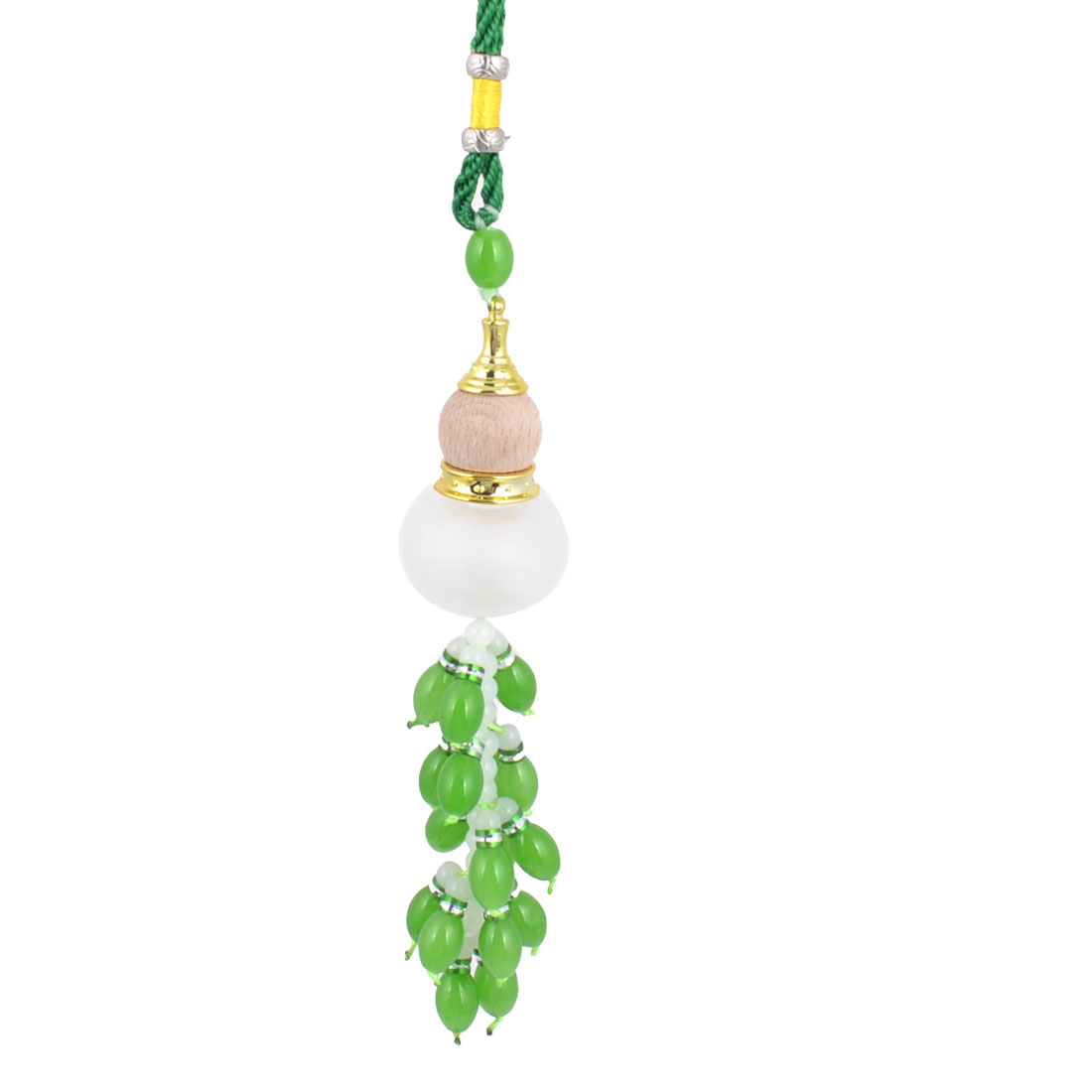 Multi Beads Linked Tassel Hanging Calabash Perfume Bottle Pendant Ornament Green for Auto Car