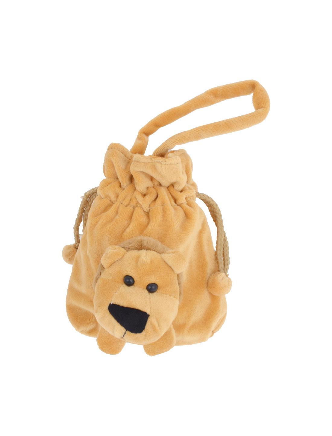 Woman Lion Decor Drawstring Closure Brown Plush Coin Bag Purse