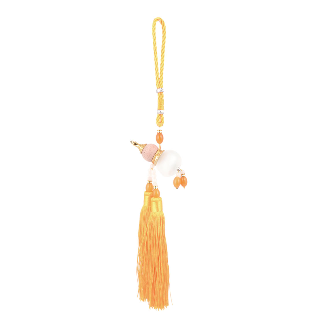 Pendant Tassels Yellow Beads Detail Perfume Bottle Wooden Calabash Car Hanging Decor