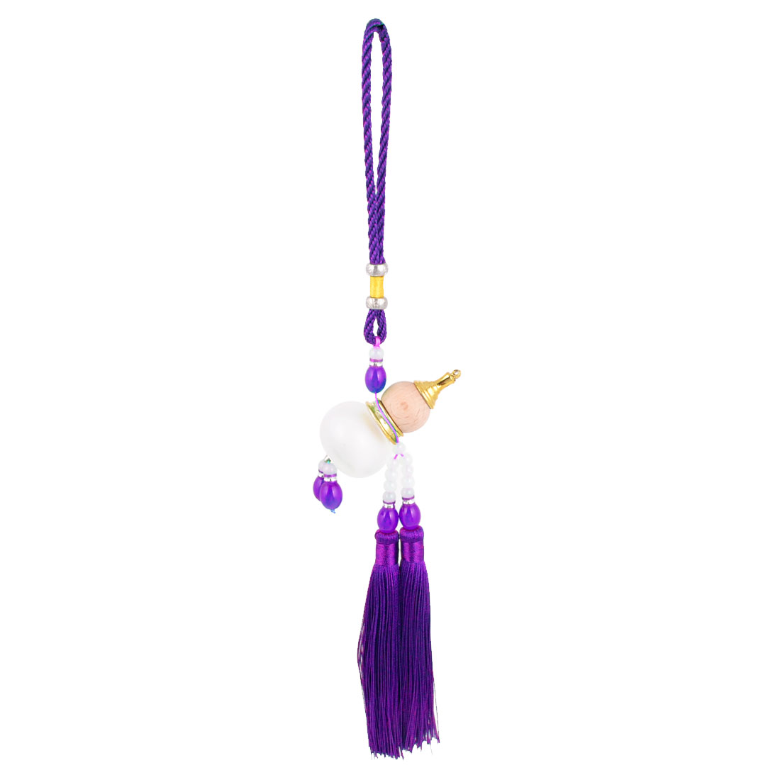 Pendant Tassels White Purple Beads Detail Cucurbit Perfume Bottle Wooden Calabash Car Hanging Decor