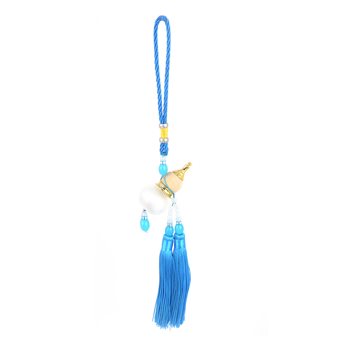 Pendant Tassels White Blue Beads Detail Cucurbit Perfume Bottle Wooden Calabash Car Hanging Decor