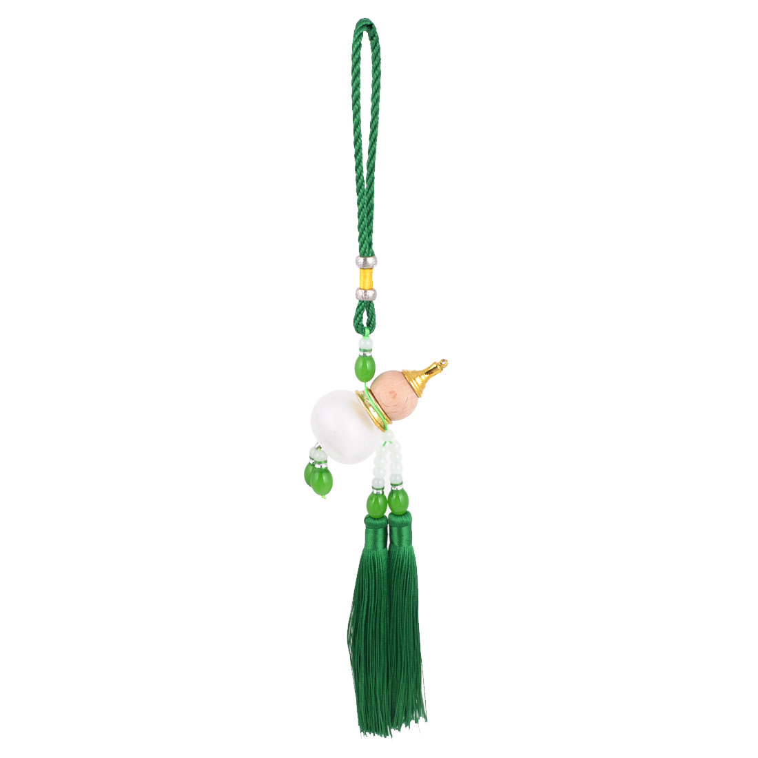 Pendant Tassels Green Beads Detail Cucurbit Perfume Bottle Wooden Calabash Car Hanging Decor