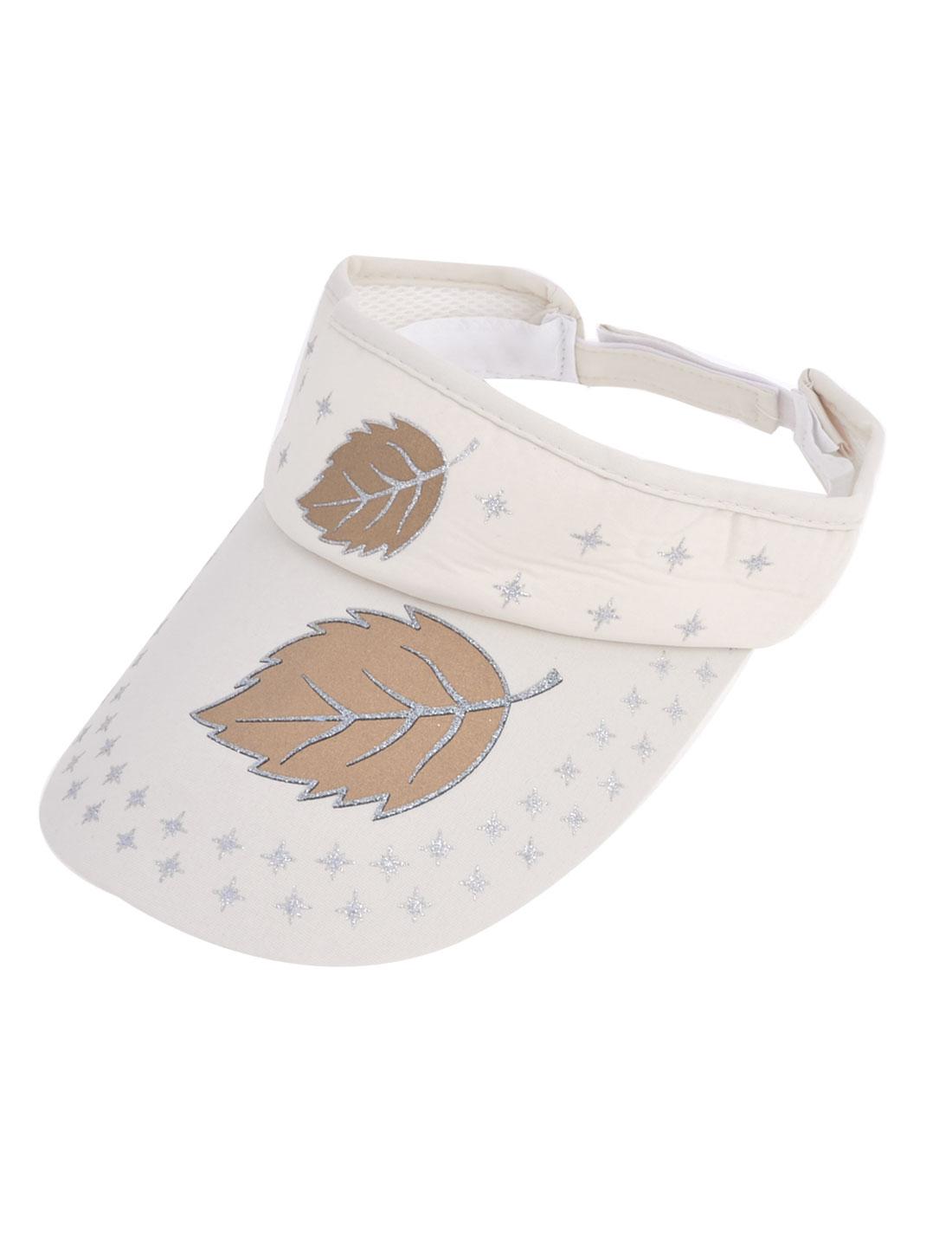 Brown Leaf Pattern Hook Loop Fastener Summer Visor Hat Beige for Women