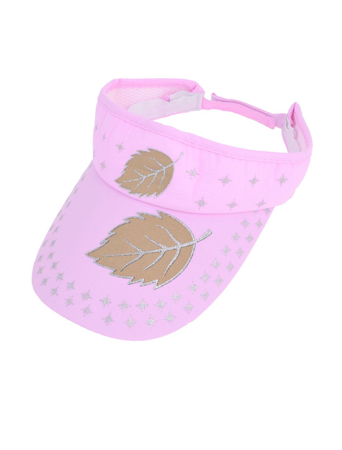Lady Brown Leaf Printed Adjustable Opened Top Summer Sun Visor Hat Pink