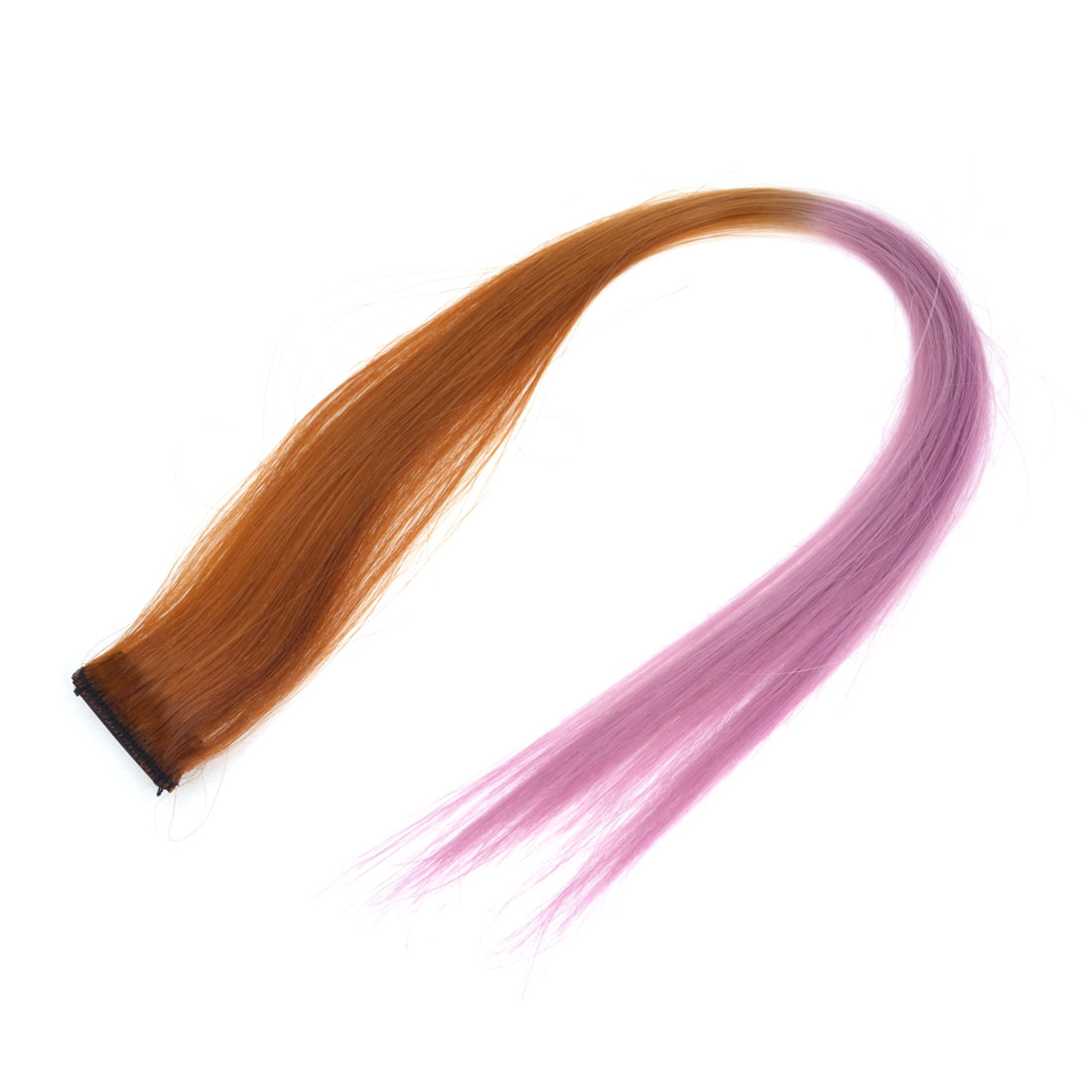 Stage Performance 50cm Length Straight Synthetic Clip-On Hairpiece Wig Ponytail Ornament Pink Brown