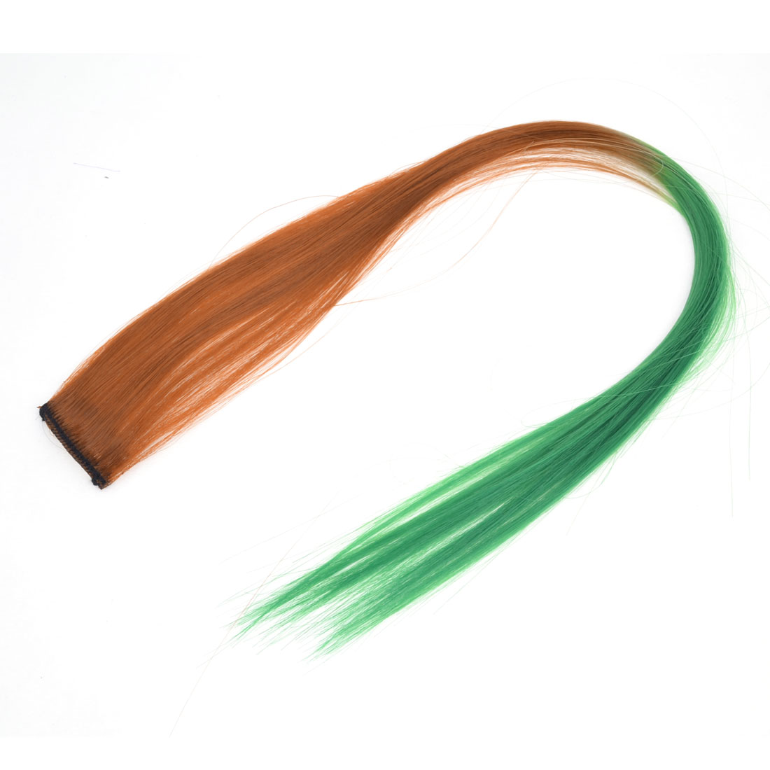 Cosplay 50cm Length Straight Synthetic Clip-On Hairpiece Wig Ponytail Ornament Brown Green