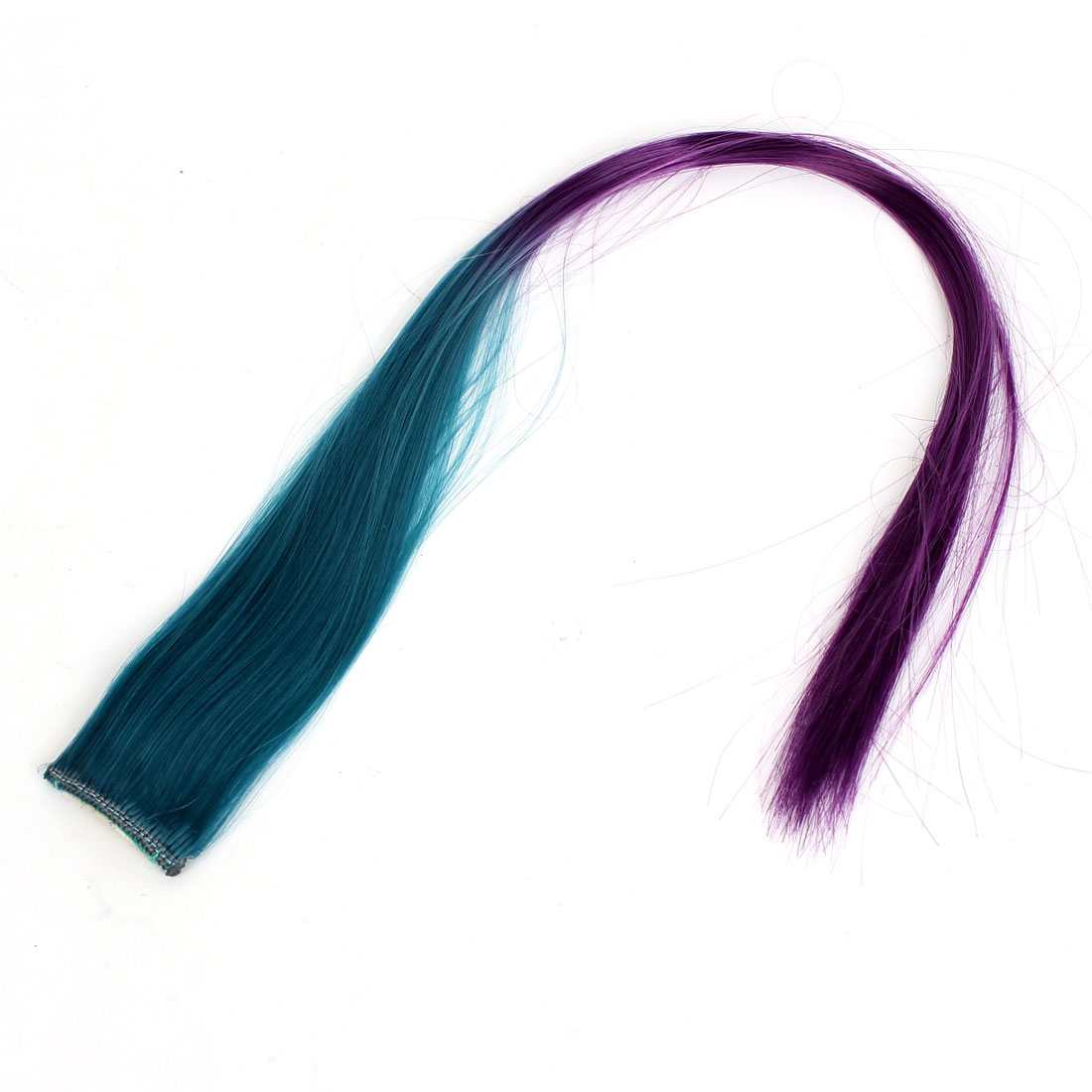 Stage Performance 48cm Length Straight Artificial Clip-On Hairpiece Wig Ponytail Ornament Teal Purple