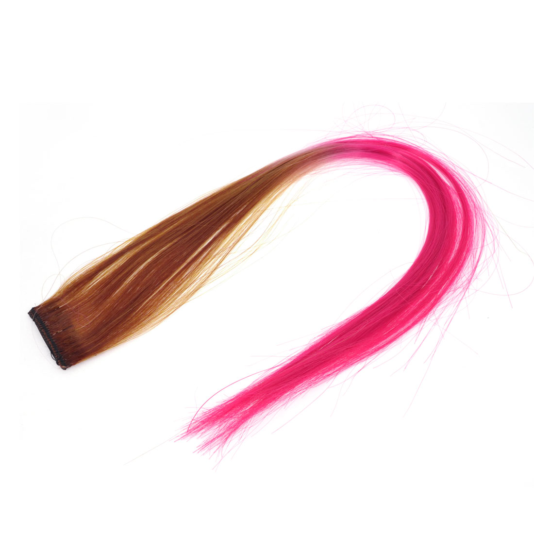 Costume Party 47cm Length Fuchsia Brown Straight Clip On Hair Wig for Women